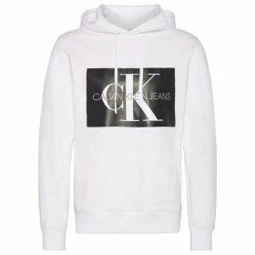 Calvin Klein Jeans Mono Box Logo Hoodie - White