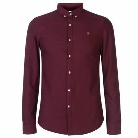 Farah Vintage Farah Brewer Oxford Long Sleeve Shirt Mens - Burgundy