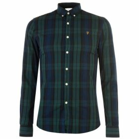 Farah Vintage Farah Mens Brewer Checked Shirt - 394 GILL GREEN