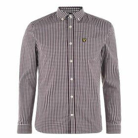 Lyle and Scott Long Sleeve Gingham Shirt - Burgundy Z651