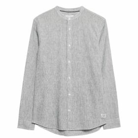 Jack Wills Hetton Stripe Linen Blend Shirt - Navy