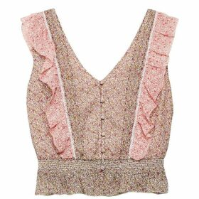 Jack Wills Jasmine Frill Button Through Top - Pink