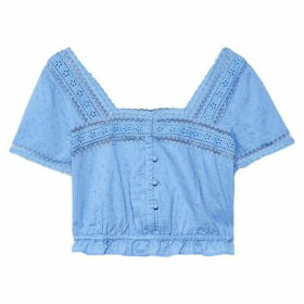 Jack Wills Hailey Gathered Waist Blouse - Blue