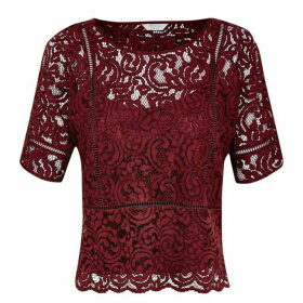 Jack Wills Angelina Lace Tee - Damson