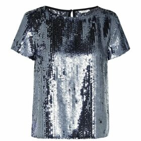 Jack Wills Islip Sequin Top - Gunmetal