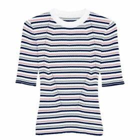 Jack Wills Alland Stripe Short Sleeve Crew - Navy