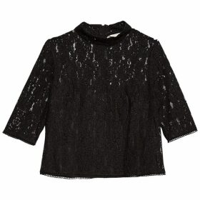 Jack Wills Popehill Lace Tee - Black