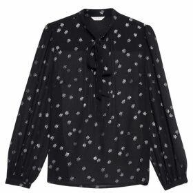 Jack Wills Kelsiefield Tie Neck Blouse - Black