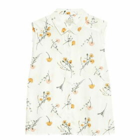 Jack Wills Linden Printed Sleeveless Shirt - White