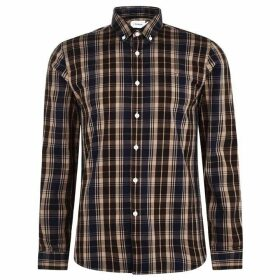 Farah Vintage Brewer Long Sleeve Check Shirt - Brownie 212