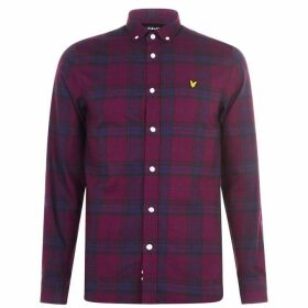 Lyle and Scott Long Sleeve Flannel Check Shirt - Burgundy 865