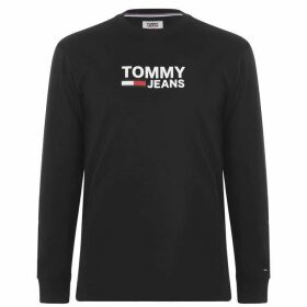 Tommy Jeans Corporate Long Sleeve T Shirt - Tommy Black