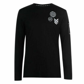 Fabric Long Sleeve Patch Top Mens - Black