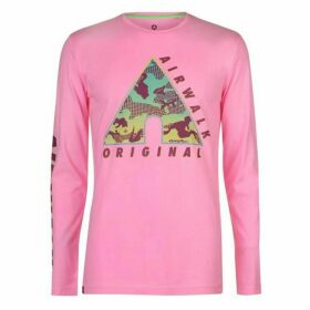 Airwalk Camo Long Sleeve T Shirt Mens - Pink