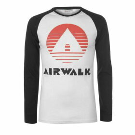 Airwalk Long Sleeve Raglan T Shirt Mens - Black/White