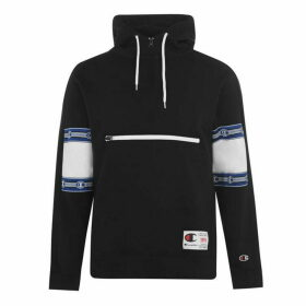 Champion Print Cut Sleeve Hooded Sweatshirt - Black