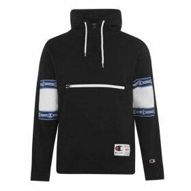 Champion Print Cut Sleeve Hooded Sweatshirt - Black