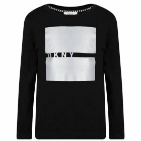 DKNY Square Line Logo T Shirt - Black
