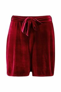 Womens Tall Belted Velvet Shorts - Red - 6, Red