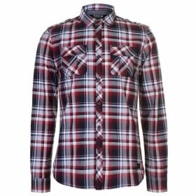 Firetrap Blackseal Long Sleeve Checked Shirt - Red