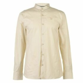 Firetrap Long Sleeve Grandad Shirt Mens - Stone