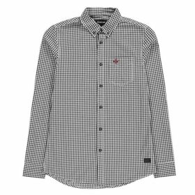 Firetrap Long Sleeve Gingham Shirt Mens - Navy/White