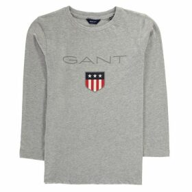 Gant Shield Logo Long Sleeve T Shirt - Light Grey 94