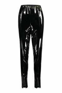 Womens Tall Vinyl Split Front Leggings - black - 18, Black