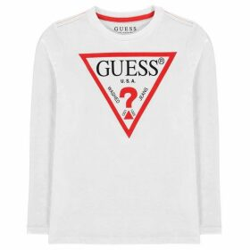 Guess Long Sleeve T Shirt - White/Red