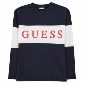 Guess Sleeve Logo T Shirt - Deck Blue DEKB