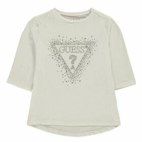 Guess Sequin Logo Long Sleeve T-Shirt - True White TWHT