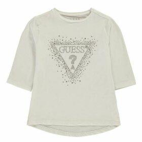 Guess Sequin Logo Long Sleeve T-Shirt - True White TWHT