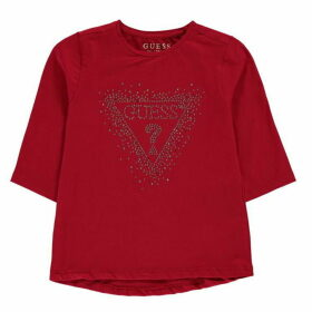 Guess Sequin Logo Long Sleeve T-Shirt - Elec Crim ELCR