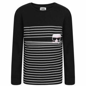 Karl Lagerfeld Stripe Graphic Long Sleeved T Shirt - Black