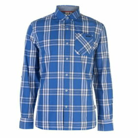 Lee Cooper Long Sleeve Check Shirt Mens - Blue/White/Navy