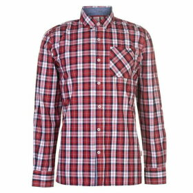 Lee Cooper Long Sleeve Check Shirt Mens - Red/White/Navy