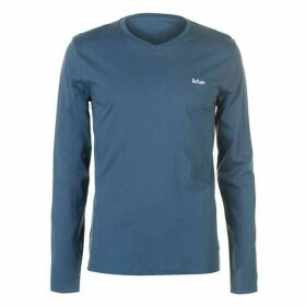 Lee Cooper Essential LS V Neck T Shirt Mens - Steel Blue