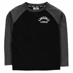 Lonsdale Crest Long Sleeved T Shirt - Black/Charcoal
