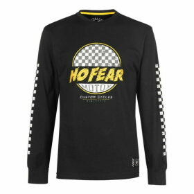No Fear Custom Motox Long Sleeve T Shirt Mens - Black