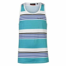 Pierre Cardin Printed Stripe Vest Mens - Turq/Wht/Royal