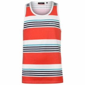 Pierre Cardin Printed Stripe Vest Mens - Red/Wht/Navy