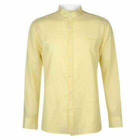 Pierre Cardin Long Sleeve Linen Shirt Mens - Lemon