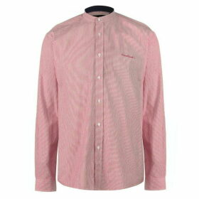 Pierre Cardin Collarless Long Sleeve Stripe Shirt Mens - Red