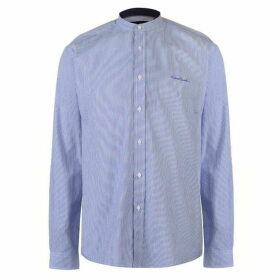 Pierre Cardin Collarless Long Sleeve Stripe Shirt Mens - Blue
