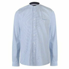 Pierre Cardin Collarless Long Sleeve Stripe Shirt Mens - Lt Blue/White