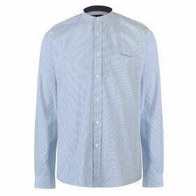Pierre Cardin Collarless Long Sleeve Stripe Shirt Mens - Lt Blue/White