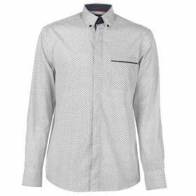 Pierre Cardin Long Sleeve Printed Shirt Mens - White