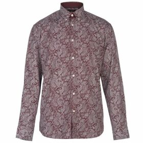 Pierre Cardin Long Sleeve Printed Shirt Mens - Burg/Wht AOP