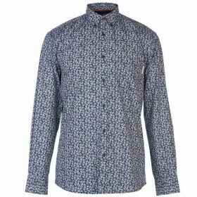 Pierre Cardin Long Sleeve Printed Shirt Mens - Navy/Wht AOP