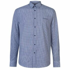 Pierre Cardin Long Sleeve Shirt Mens - Nvy S Gingham